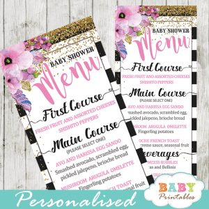 pink floral baby shower menu cards black and white striped gold glitter food ideas template
