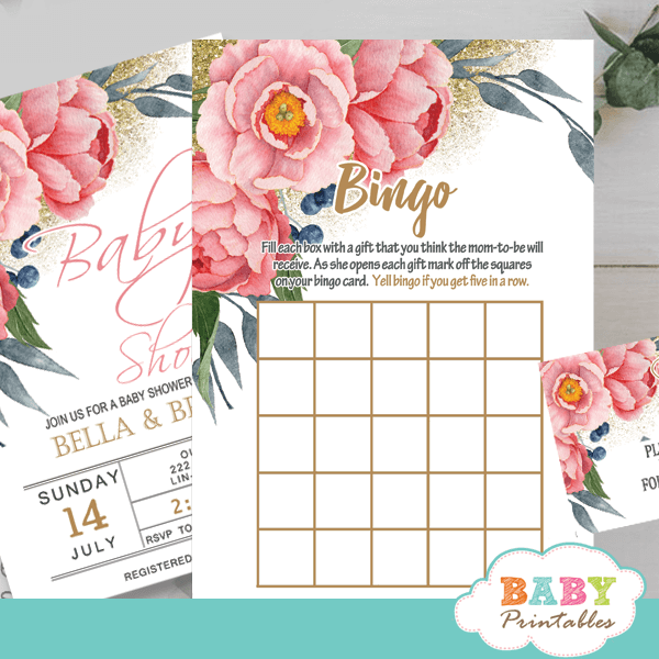 watercolor pink peony floral baby shower games spring garden theme bingo