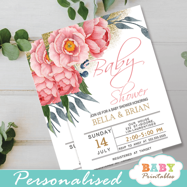pink peonies floral baby shower invitations spring flowers greenery gold glitter it's a girl