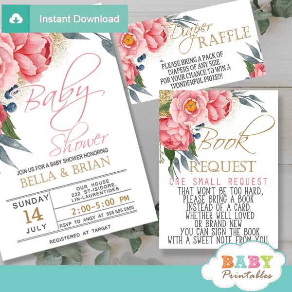 watercolor pink peony floral book request cards invitation inserts gold glitter greenery