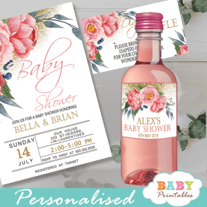 pink peony flowers water bottle wrappers gold glitter sparkle spring garden watercolor theme