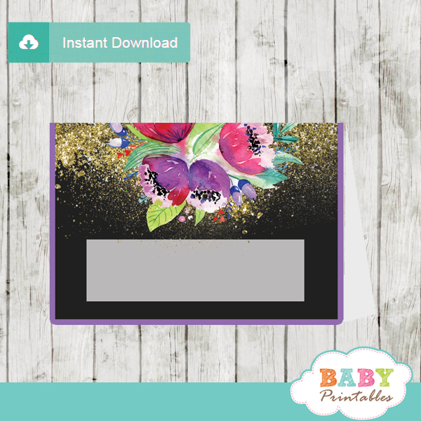 purple floral baby shower food labels table decoration