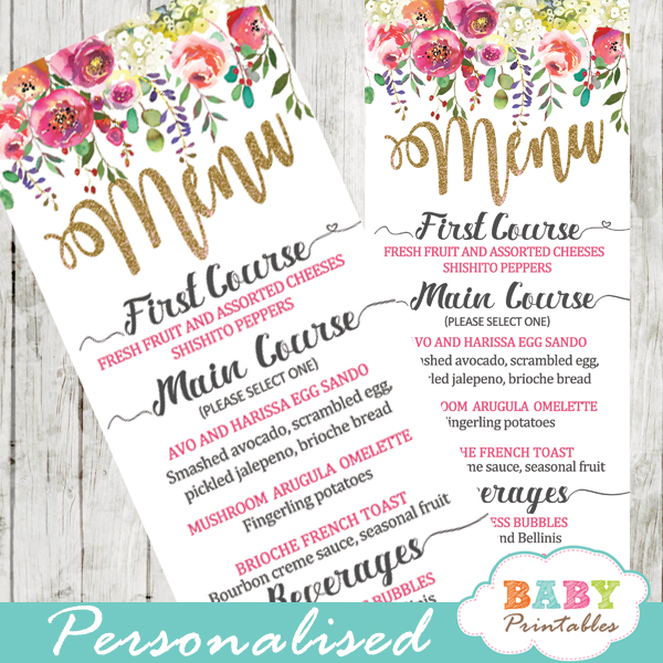 pink white flower garden baby shower menu cards table food ideas