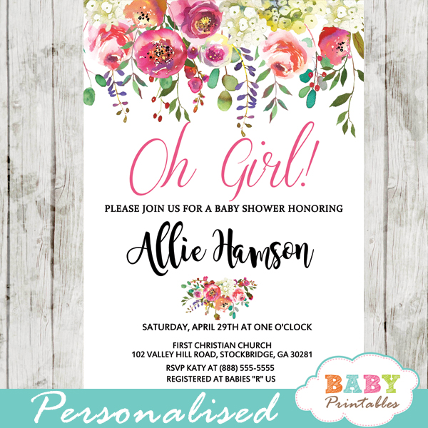 fcecd3bbae2 Watercolor Flower Garden Baby Shower Invitations - D307 - Baby ...