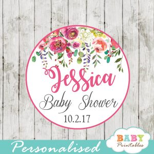 custom baby shower flower garden favor tags watercolor pink yellow orange roses floral toppers girls