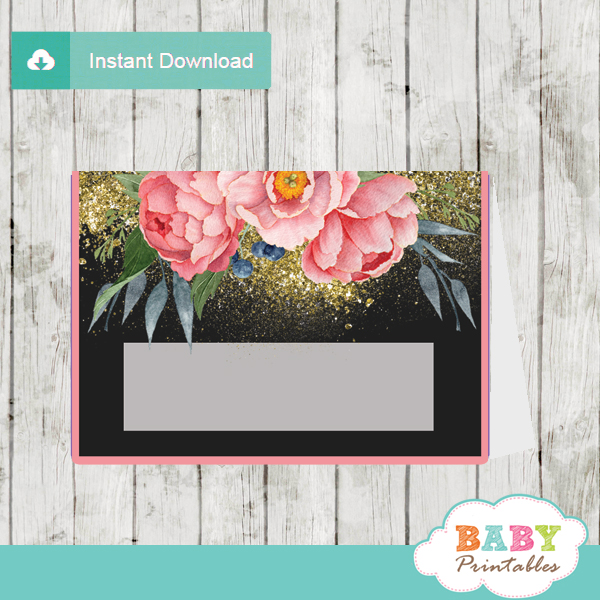 pink peony floral baby shower food labels table decoration