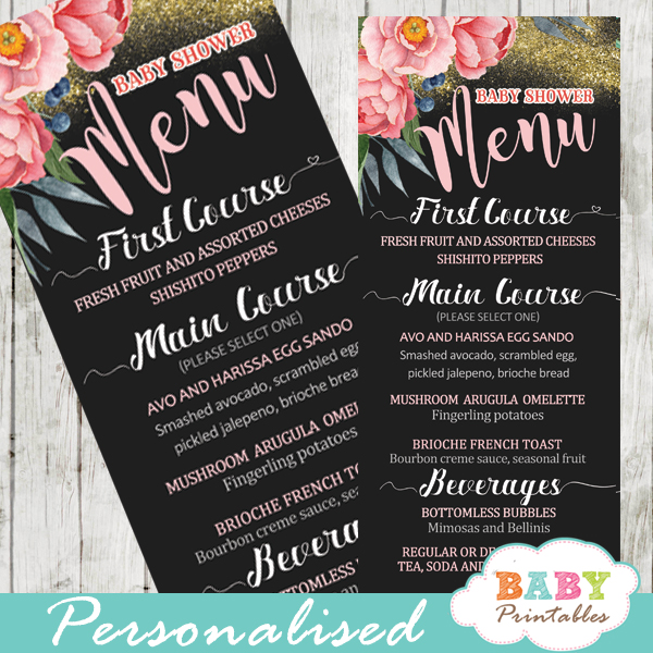 pink peony floral garden baby shower menu cards gold glitter food ideas