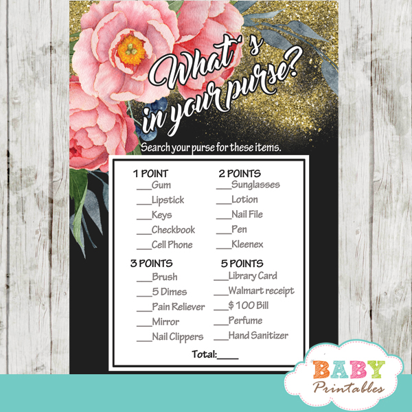 watercolor pink peony floral baby shower games spring garden theme what's in your purse