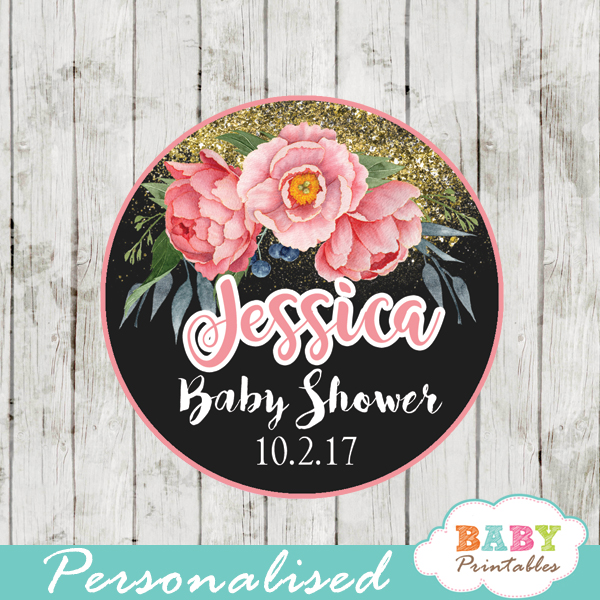 custom baby shower favor tags watercolor pink peony floral toppers gold sparkle