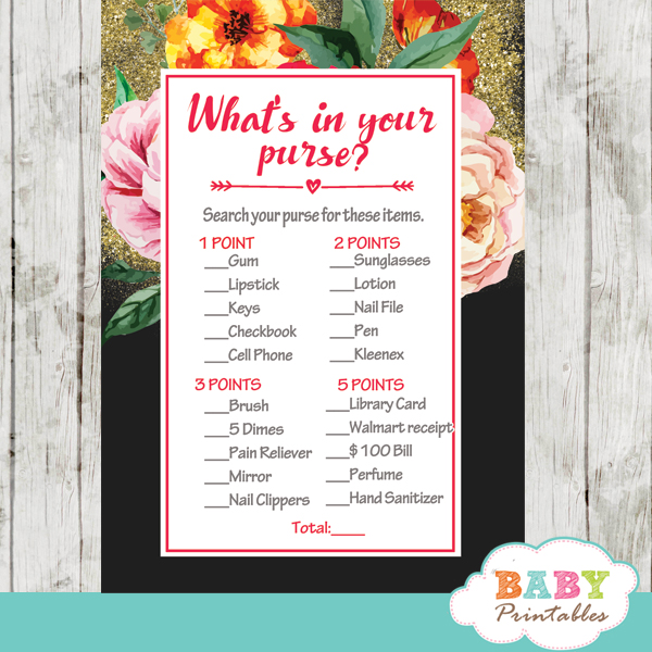 watercolor pink orange yellow roses floral baby shower games spring garden theme what's in your purse