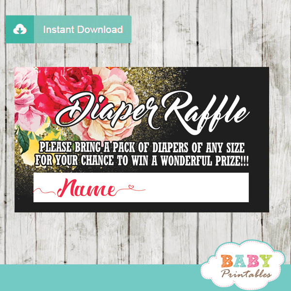 watercolor roses diaper raffle tickets gold glitter girl