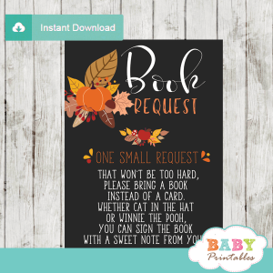 fall baby shower little pumpkin book request cards autumn invitation insert
