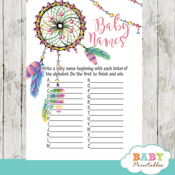 Boho Tribal Baby Shower Games Rustic Wood D332 Baby