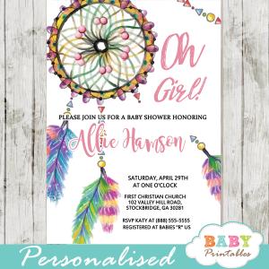 boho dream catcher baby shower invitations watercolor girl