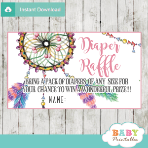 baby girl boho watercolor dream catcher diaper raffle tickets pink