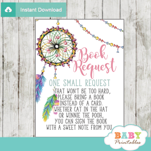 boho dream catcher baby shower book request cards invitation insert