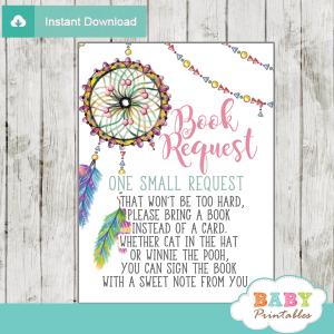 boho dream catcher baby shower book request cards invitation insert