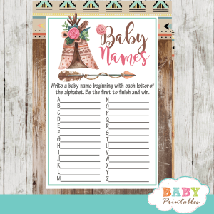 boho tribal baby shower games pink girl rustic wood