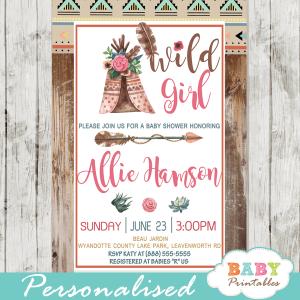 chic rustic wood boho tribal baby shower invitations girl