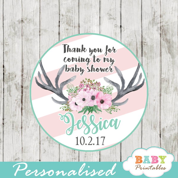 personalized baby shower favor tags pink floral antlers deer cupcake toppers