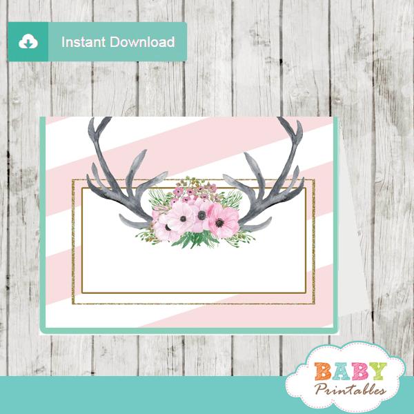 pink floral antlers deer food labels table decoration