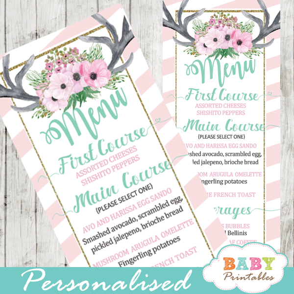 pink white floral antlers deer baby shower menu cards table food ideas