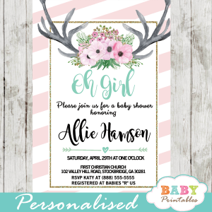 deer themed baby shower invitations pink tiffany blue floral antlers