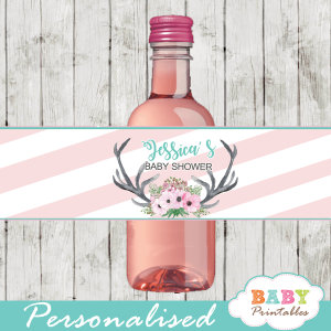 pink floral antlers deer baby shower water bottle labels girl
