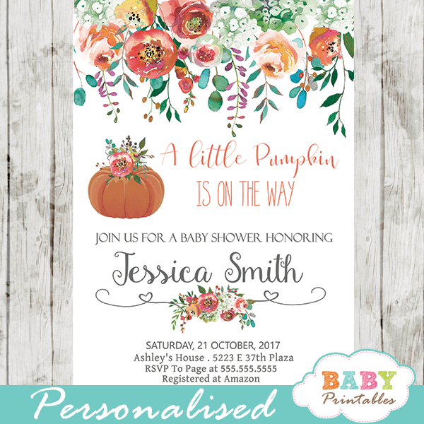 Floral Pumpkin Baby Shower Invitations Fall Arrangement