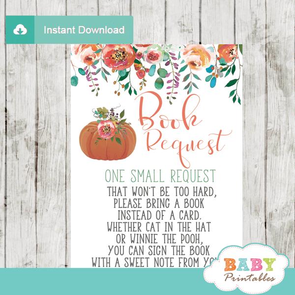 fall baby shower little pumpkin book request cards invitation insert
