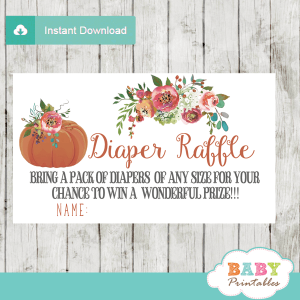 fall baby shower floral pumpkin diaper raffle tickets