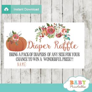 fall baby shower floral pumpkin diaper raffle tickets