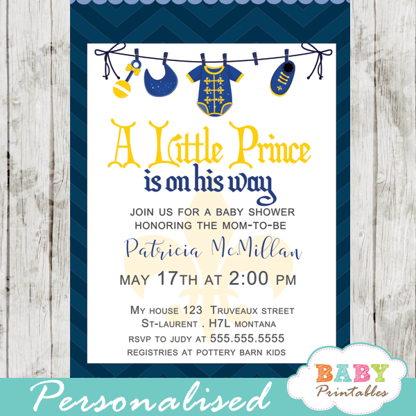 royal baby shower invitations little prince blue clothesline onesie bib