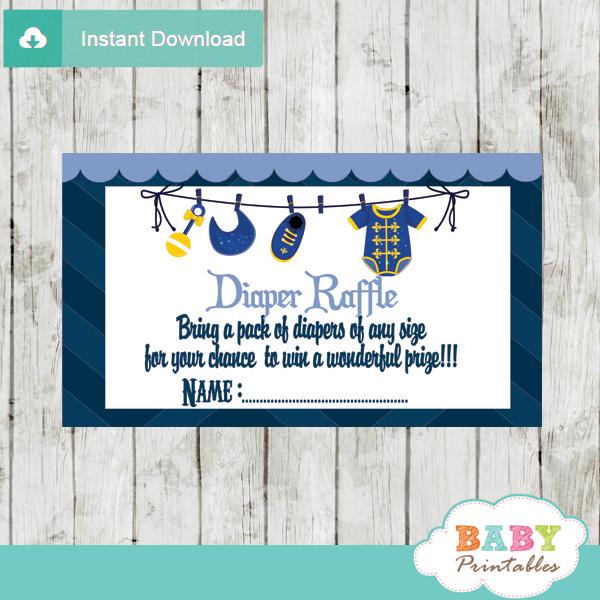 royal blue little prince diaper raffle tickets