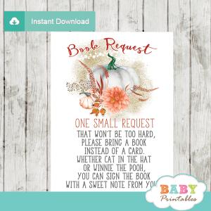 fall baby shower pumpkin book request cards invitation insert