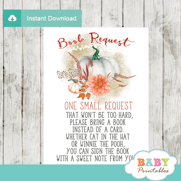 fall baby shower pumpkin book request cards invitation insert