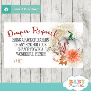 fall baby shower pumpkin diaper raffle tickets