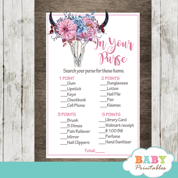 rustic chic pink floral boho baby shower games western theme in your purse