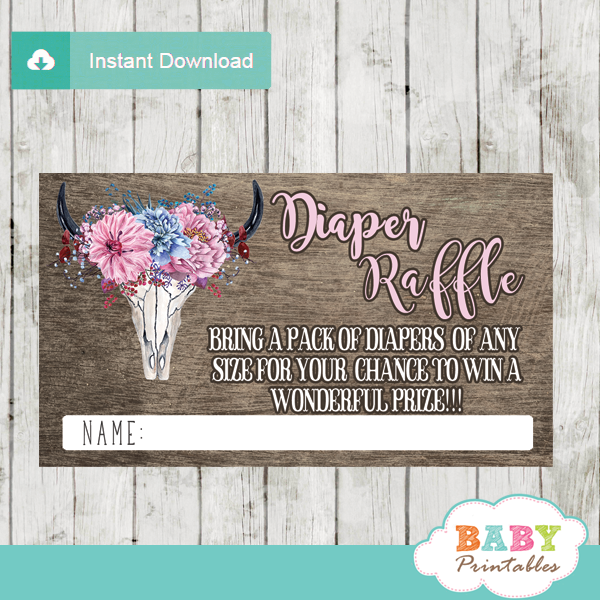 rustic chic boho watercolor floral diaper raffle tickets rustic wood pink bull skull
