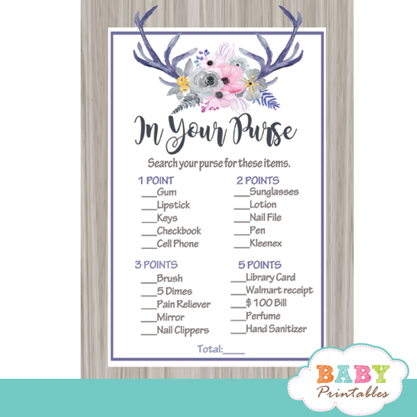 grey pink watercolor floral antlers baby shower games deer theme in your purse rustic wood