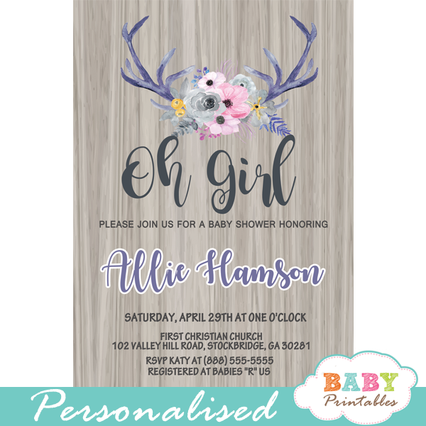 deer themed baby shower invitations pink gray indigo watercolor floral antlers