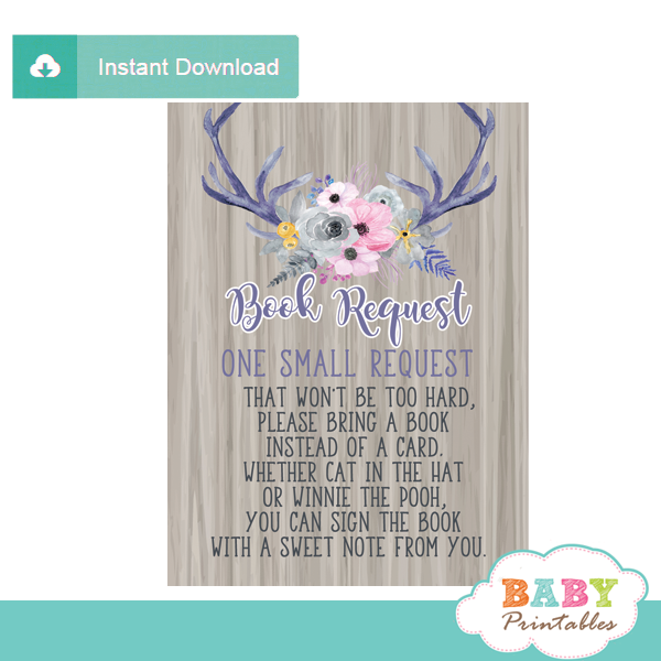 watercolor floral book request cards invitation inserts rustic wood