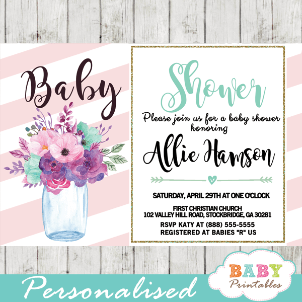 Mason jar baby shower invitations floral pink turquoise d314 mason jar baby shower invitations template pink blush turquoise watercolor flowers filmwisefo