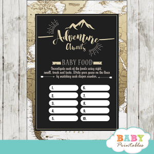 travel world map adventure baby shower games gender neutral tan color white