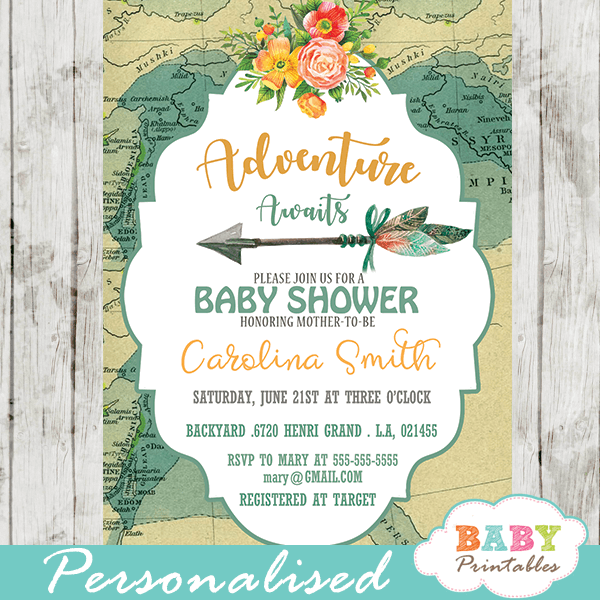 Adventure Awaits Baby Shower Invitations Vintage Map