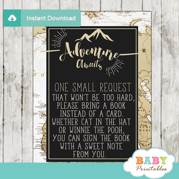 white tan black gender neutral adventure awaits travel theme baby shower book request cards world map