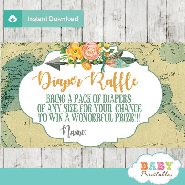 adventure awaits travel themed diaper raffle tickets decorations gender neutral baby shower vintage map