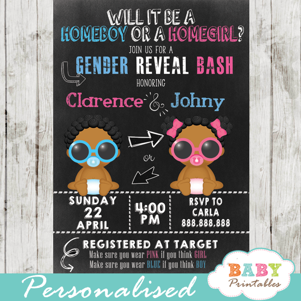 homeboy or homegirl african american gender reveal invitations