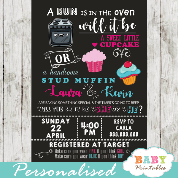 sweet little cupcake or stud muffin gender reveal invitations bun over