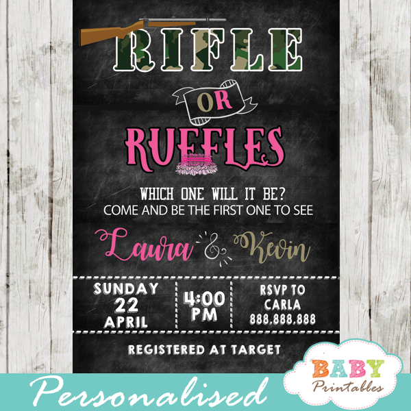 Rifle or Ruffles Gender Reveal Invitations D375 Baby Printables